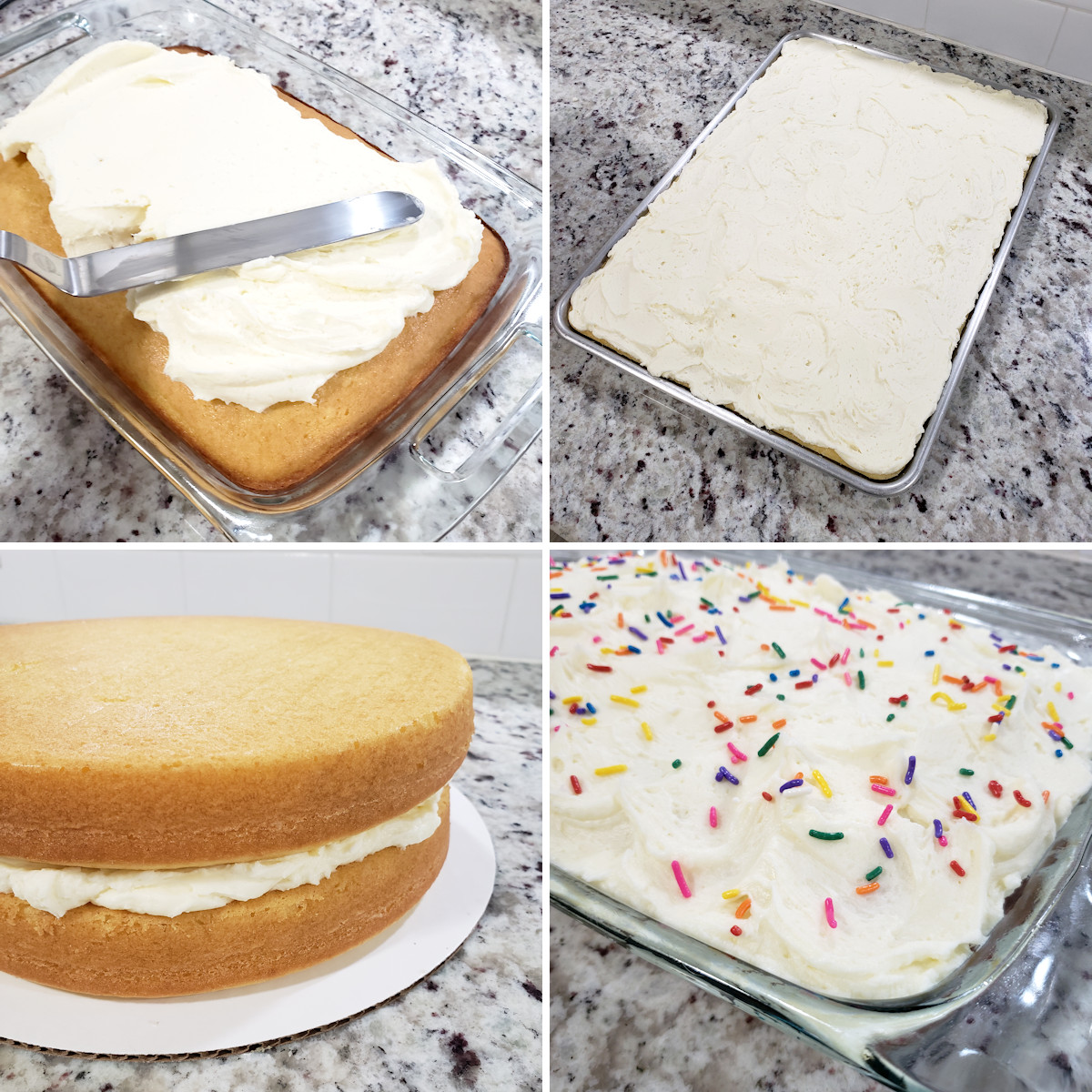Frosting cakes of various sizes.
