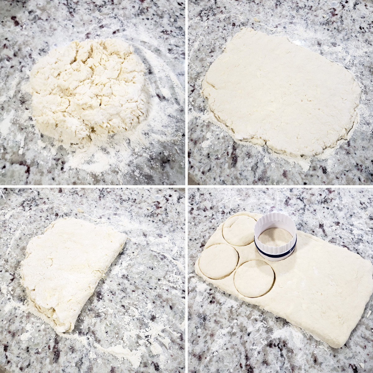 Makin and folding biscuit dough.
