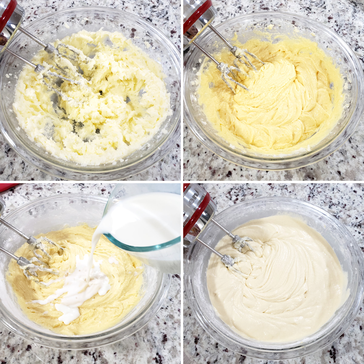 Mixing vanilla cake batter in a bowl.