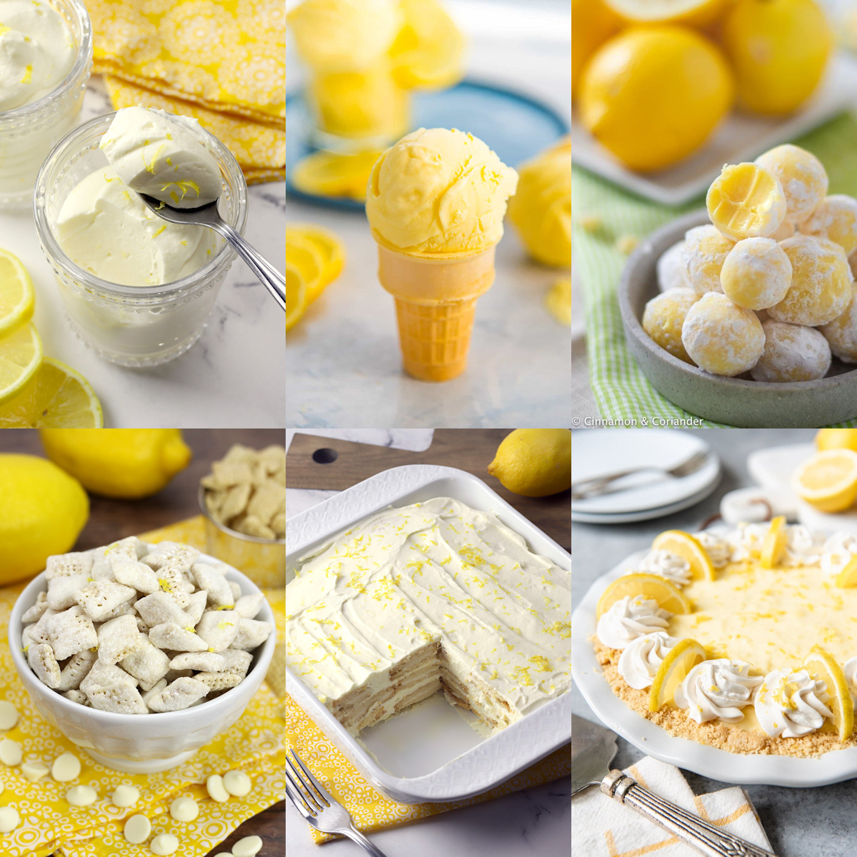 Collage of different types of no-bake lemon desserts.