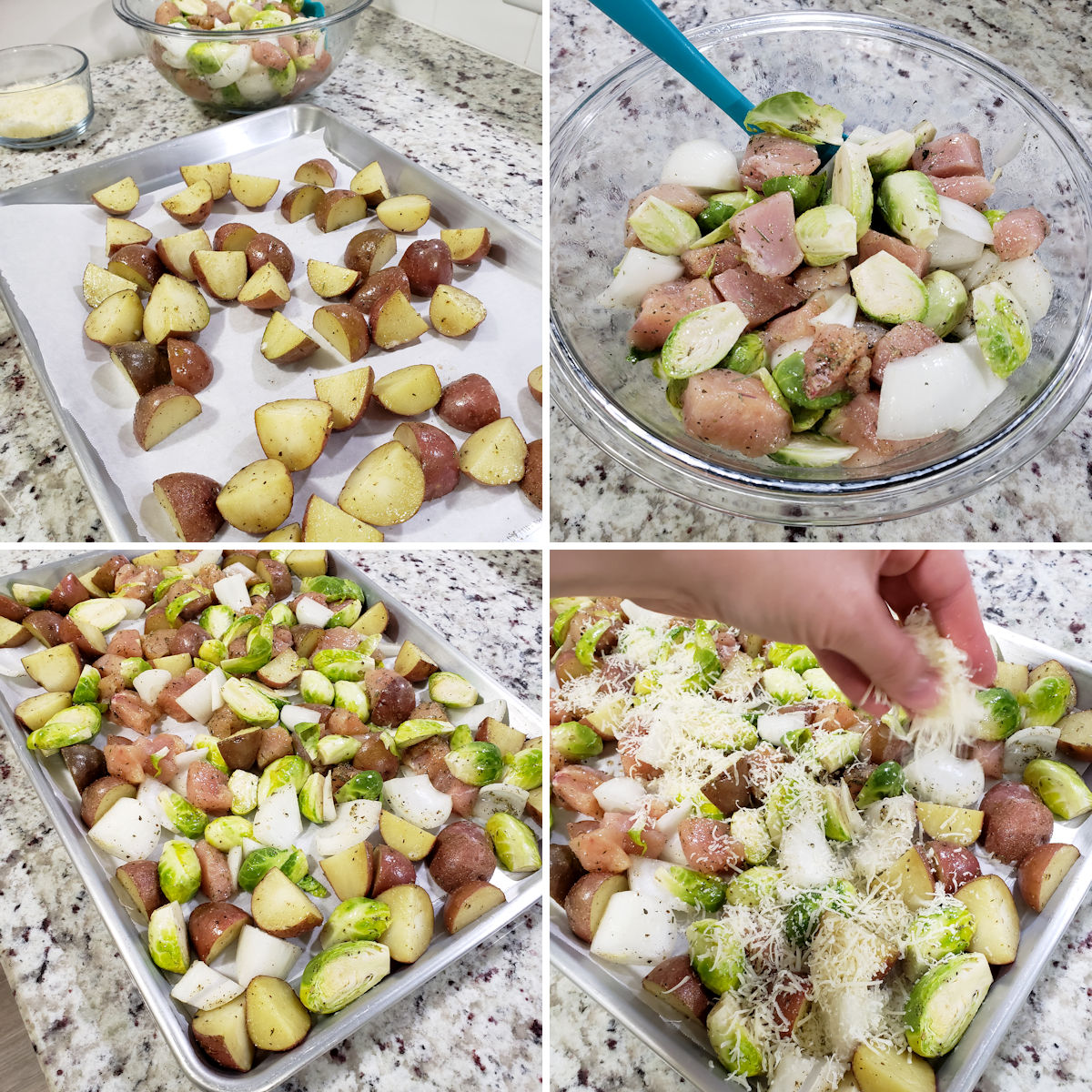 Assembling a sheet pan filled with chicken, brussels sprouts, and potatoes.