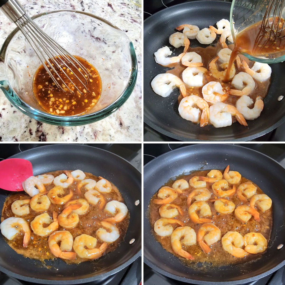 Cooking shrimp in a skillet on the stove top.
