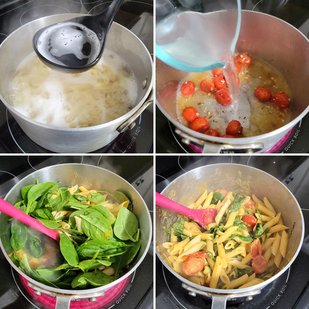 Making hummus pasta in a stock pot.