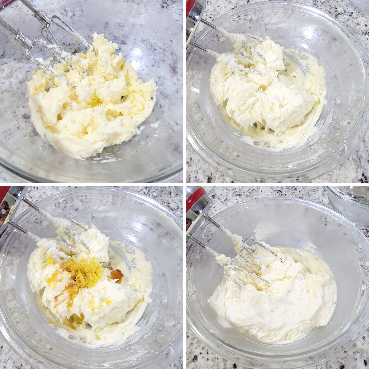 Mixing lemon frosting in a bowl.