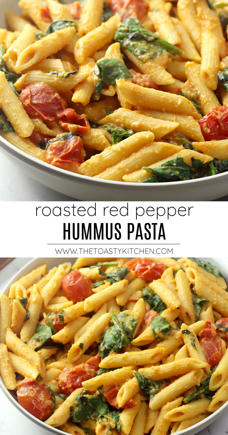 Roasted red pepper hummus pasta recipe.