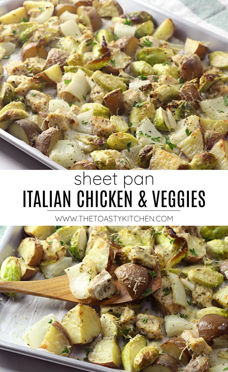 Sheet pan Italian chicken and veggies recipe.