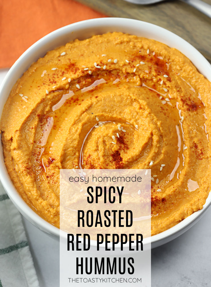 Spicy roasted red pepper hummus recipe.
