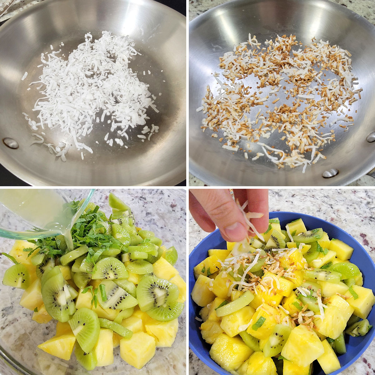 Toasting coconut and assembling a fruit salad in a bowl.