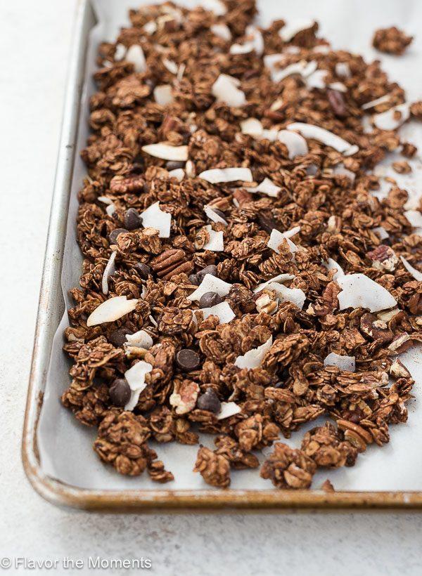 Sheet pan filled with chocolate granola.