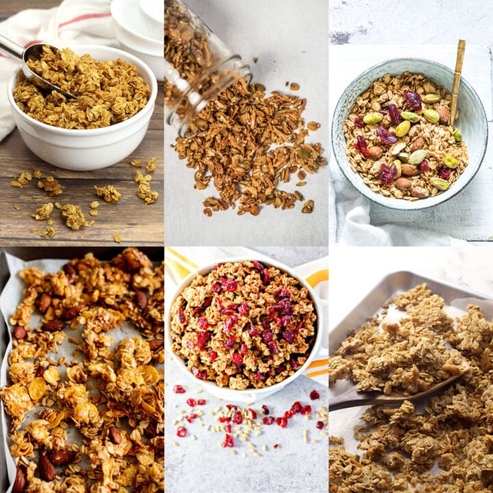 Decorative collage of homemade granola recipes.