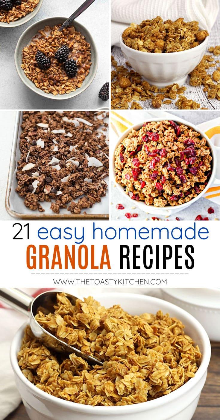Homemade granola recipes collage.