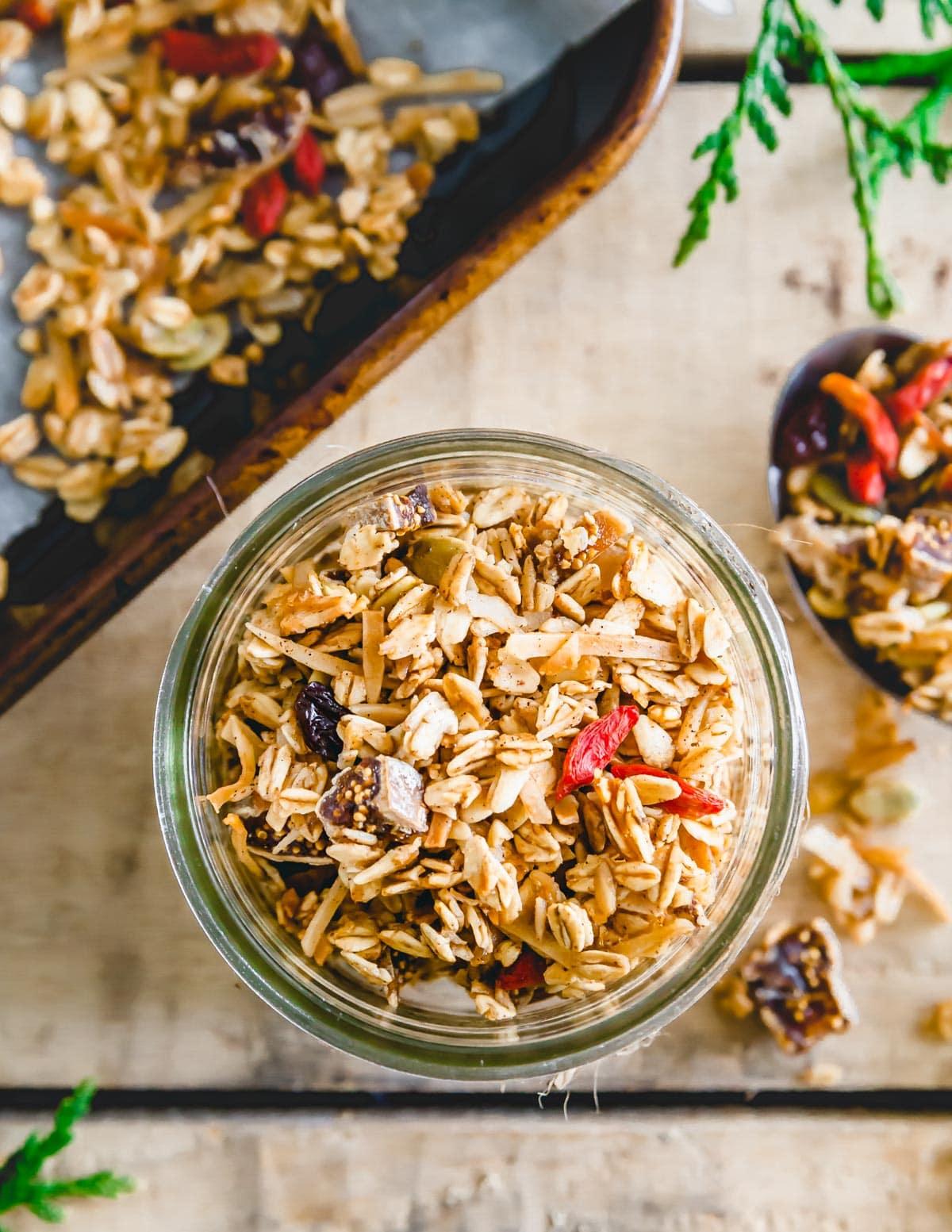 Nut free granola in a glass jar.