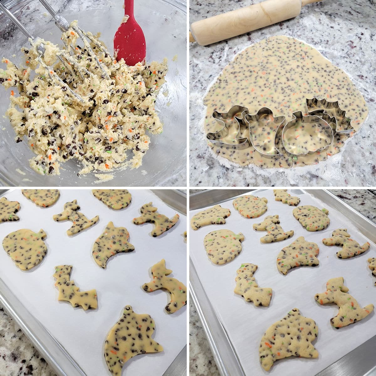 Rolling out cookie dough, cutting with cookie cutters, and baking on a baking sheet.