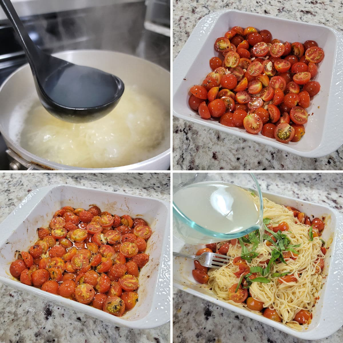 A collage showing the preparation of roasted cherry tomato pasta.