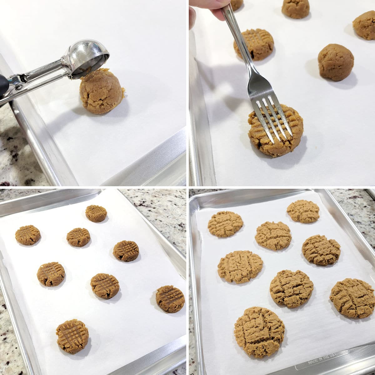 Placing cookie dough balls on a baking sheet and pressing down with the tines of a fork.