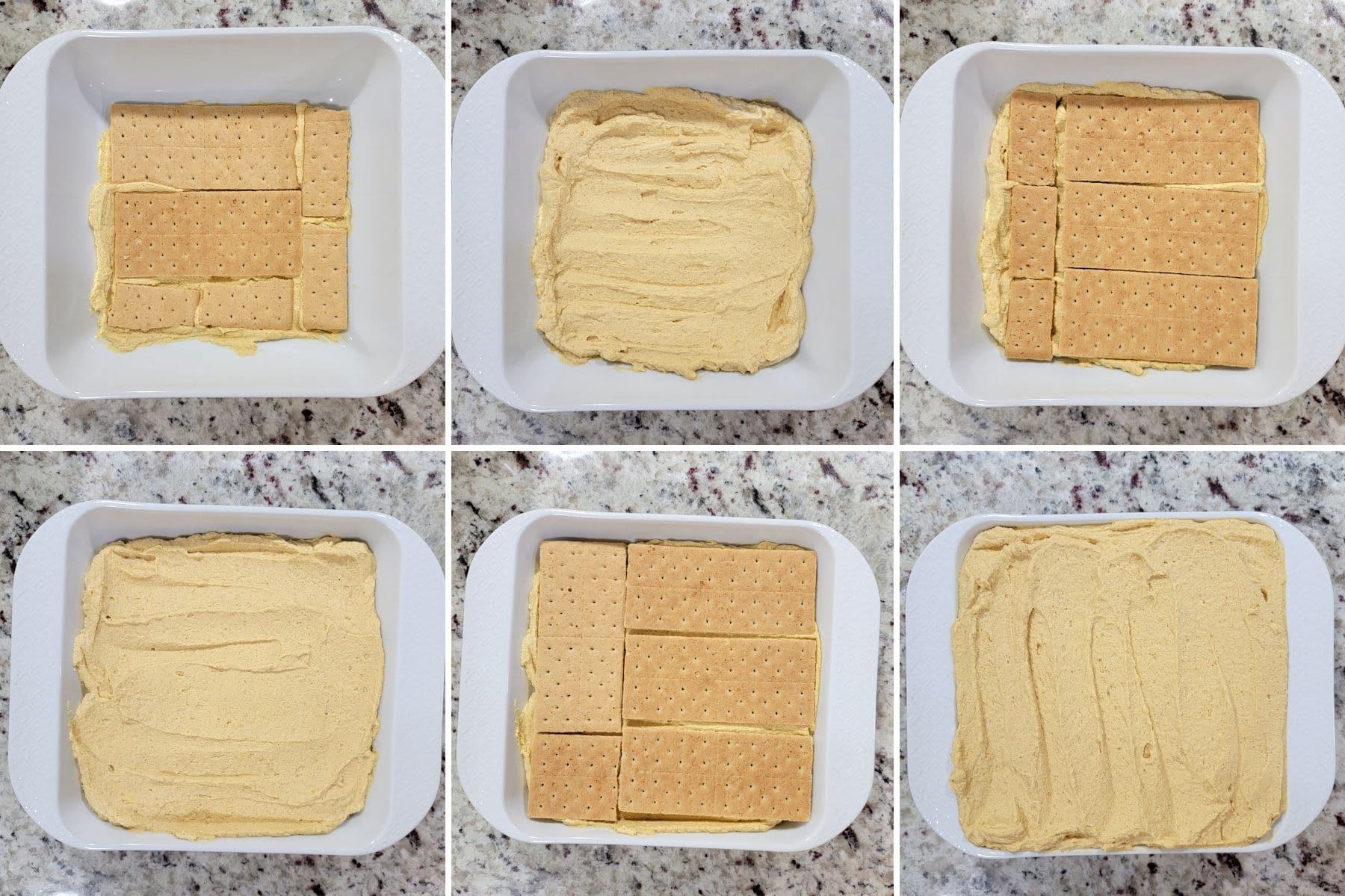 Assembling layers of a pumpkin icebox cake.