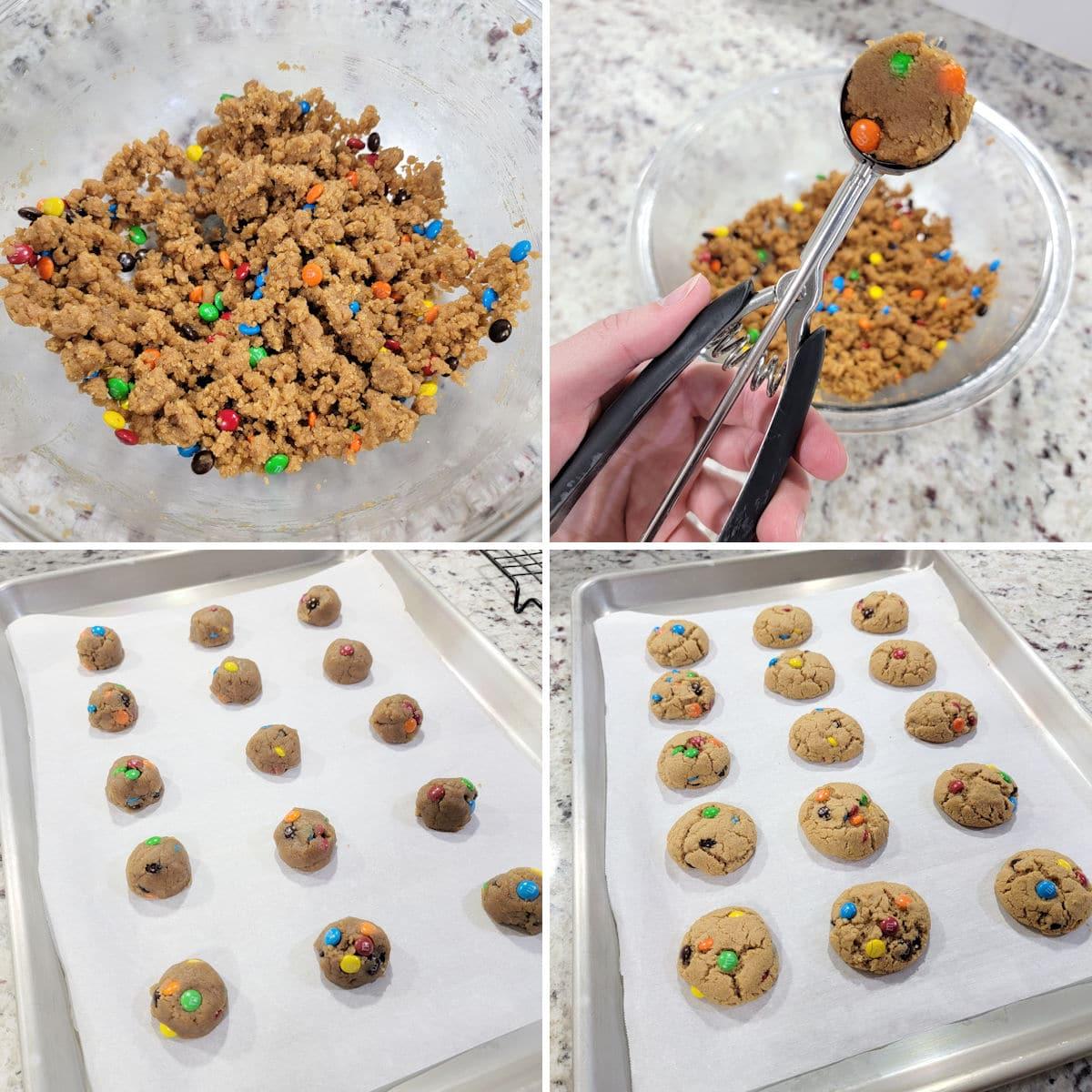 Making mini peanut butter m&m cookies.