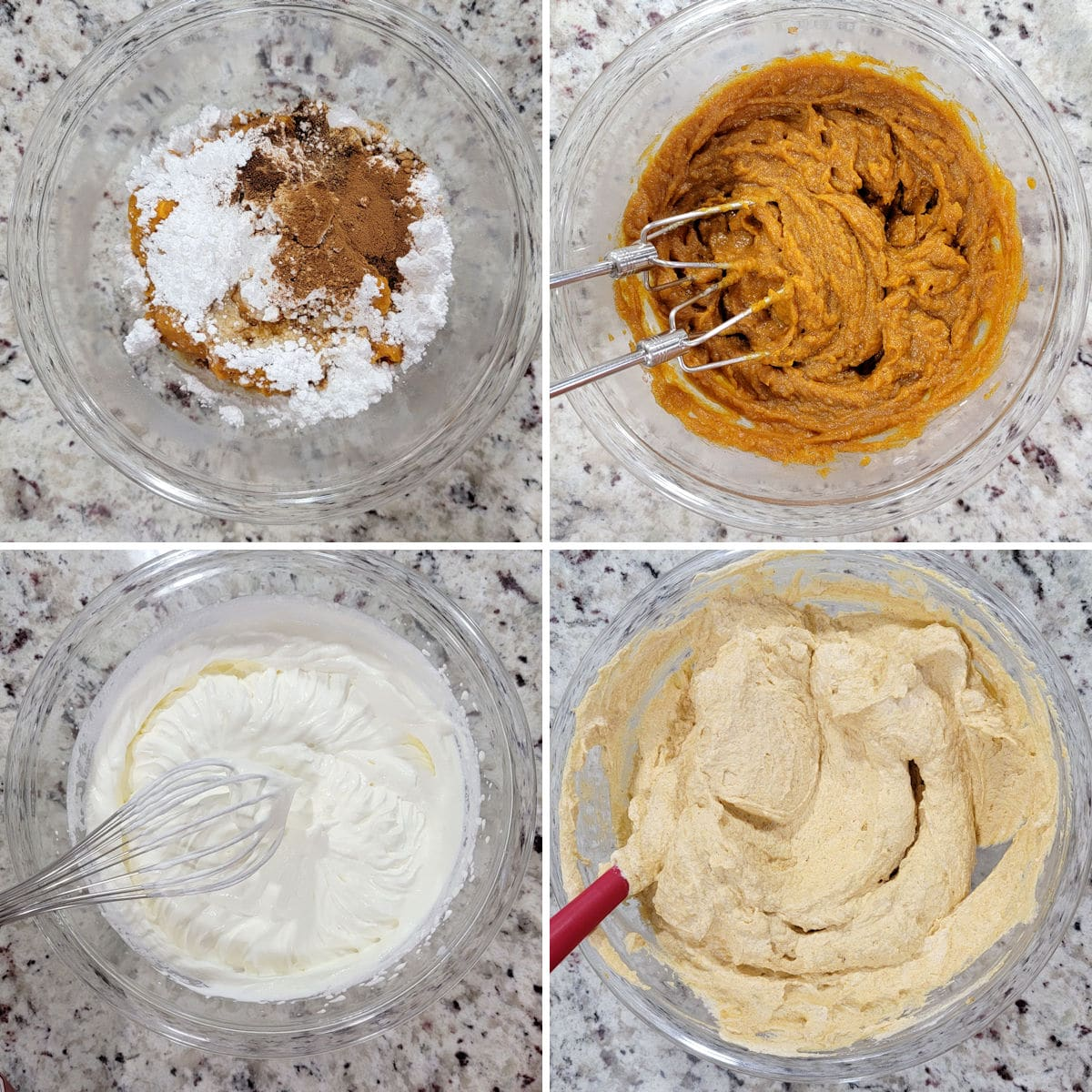 Mixing pumpkin icebox cake filling in a glass bowl.